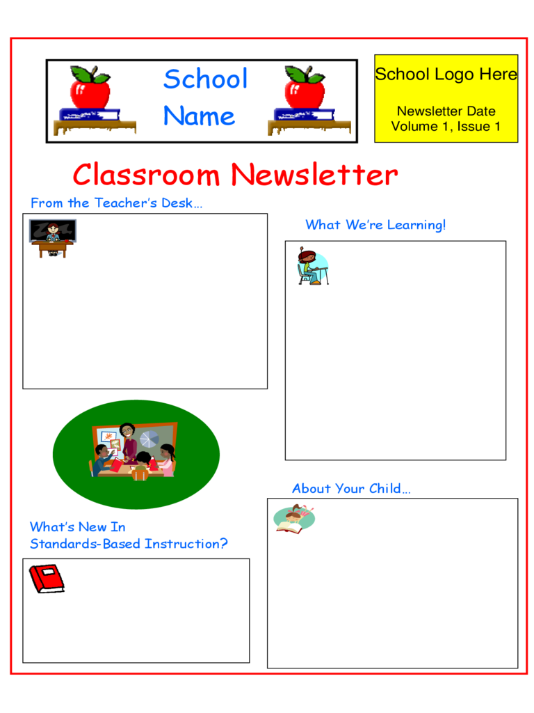 Classroom Newsletter Sample Free Download  Newsletter Sample Templates