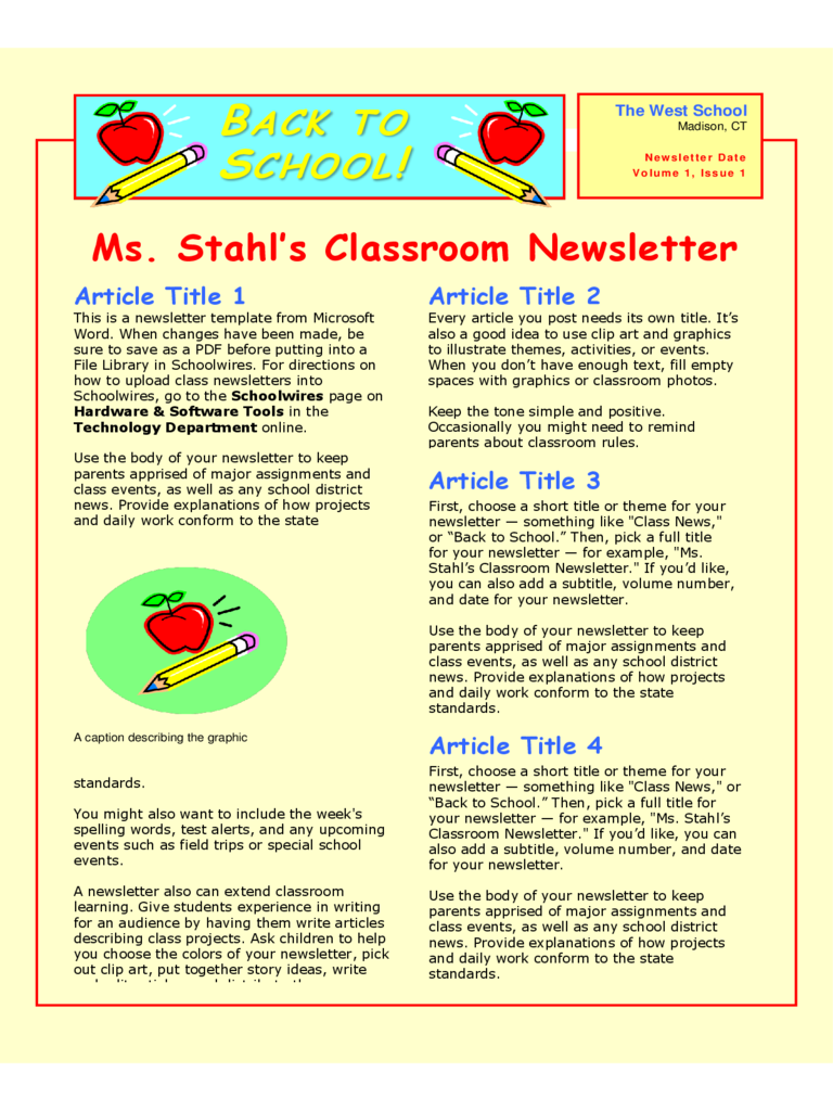 Classroom newsletter template 3 free templates in pdf for Microsoft kb article template