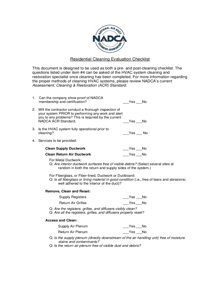 Residential Cleaning Evaluation Checklist