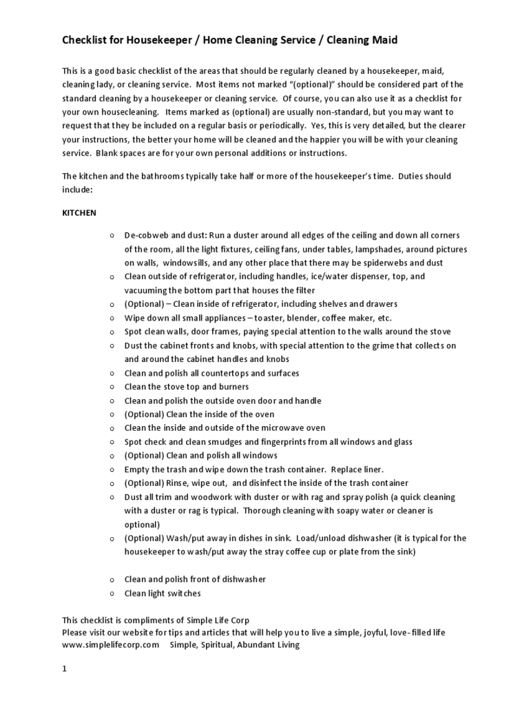 Checklist for Housekeeper / Home Cleaning Service / Cleaning Maid
