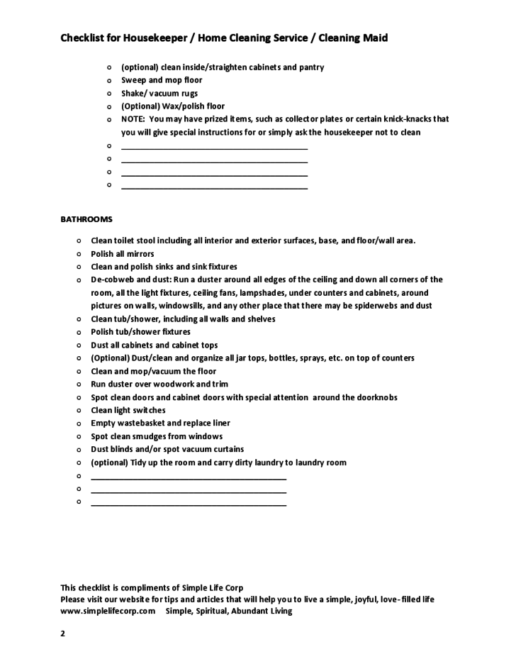 Checklist for Housekeeper   Home Cleaning Service   Cleaning Maid Free  Download. Checklist for Housekeeper   Home Cleaning Service   Cleaning Maid