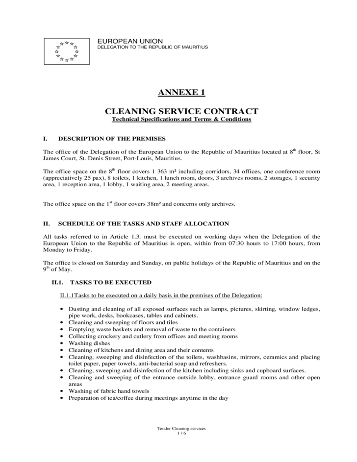 Cleaning service contract european union free download for Commercial cleaning contract templates