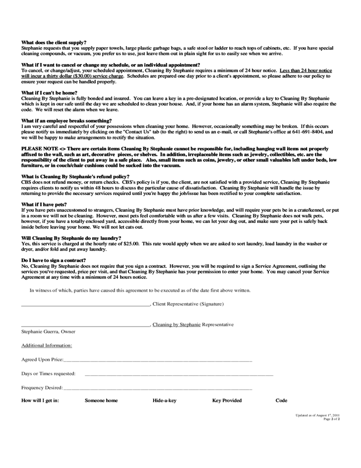 Cleaning services agreement free download for Cleaning service contracts templates