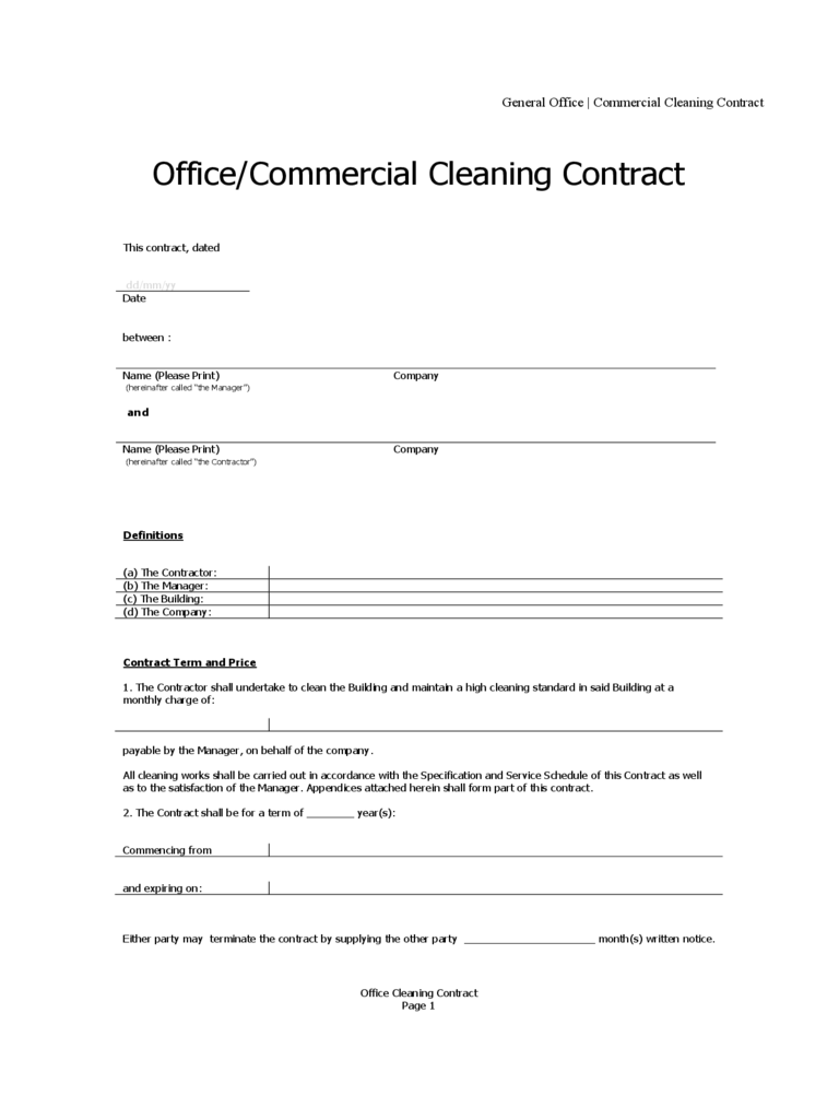 Cleaning Contract Template - 3 Free Templates in PDF, Word, Excel ...