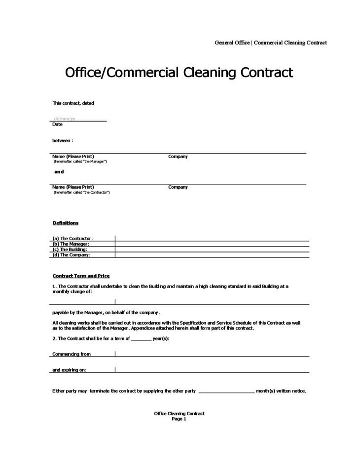 Office cleaning contract free download for Cleaning service contracts templates