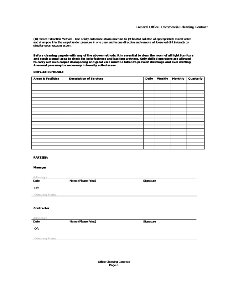 Office cleaning contract free download for Janitorial service contract template