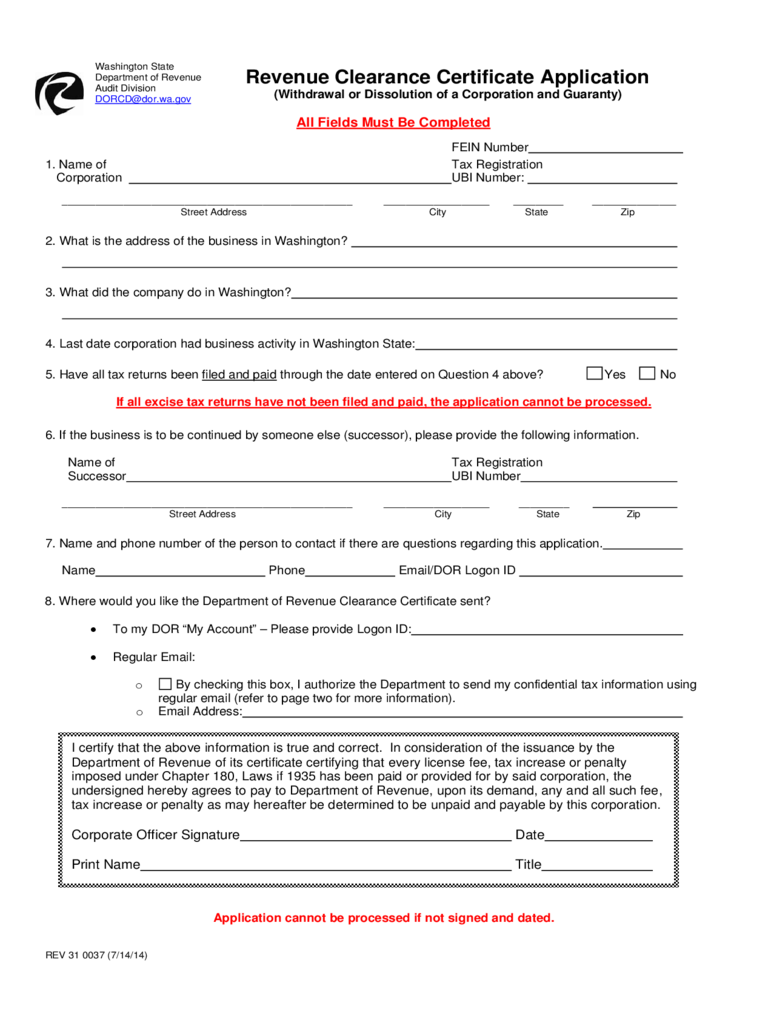 Application for Tax Clearance - New Jersey