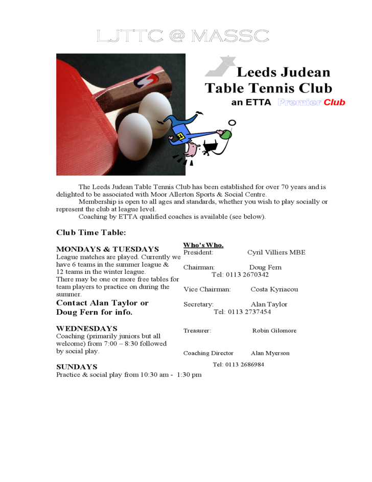 sample table tennis club flyer template free download
