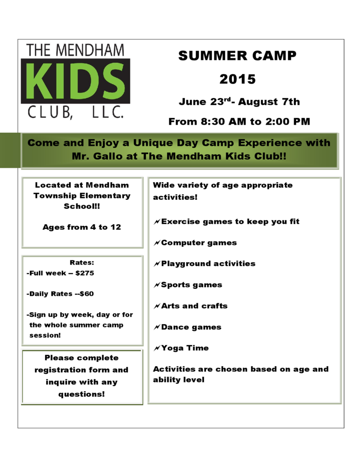 summer camp brochure template free download - mendham kids club summer camp flyer template free download