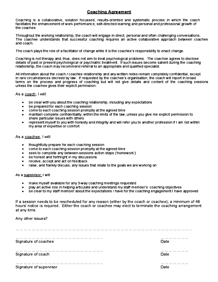 Coaching contract template university of sydney free for Coaching contracts templates