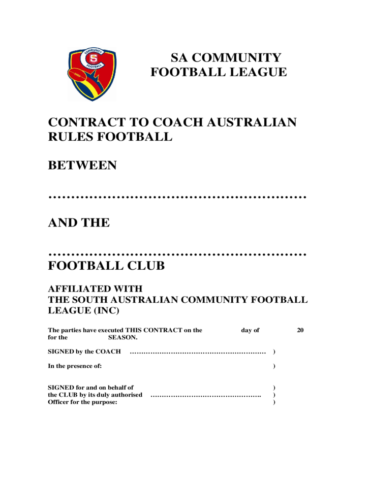 Coaching contract template south australia free download for Football contract template