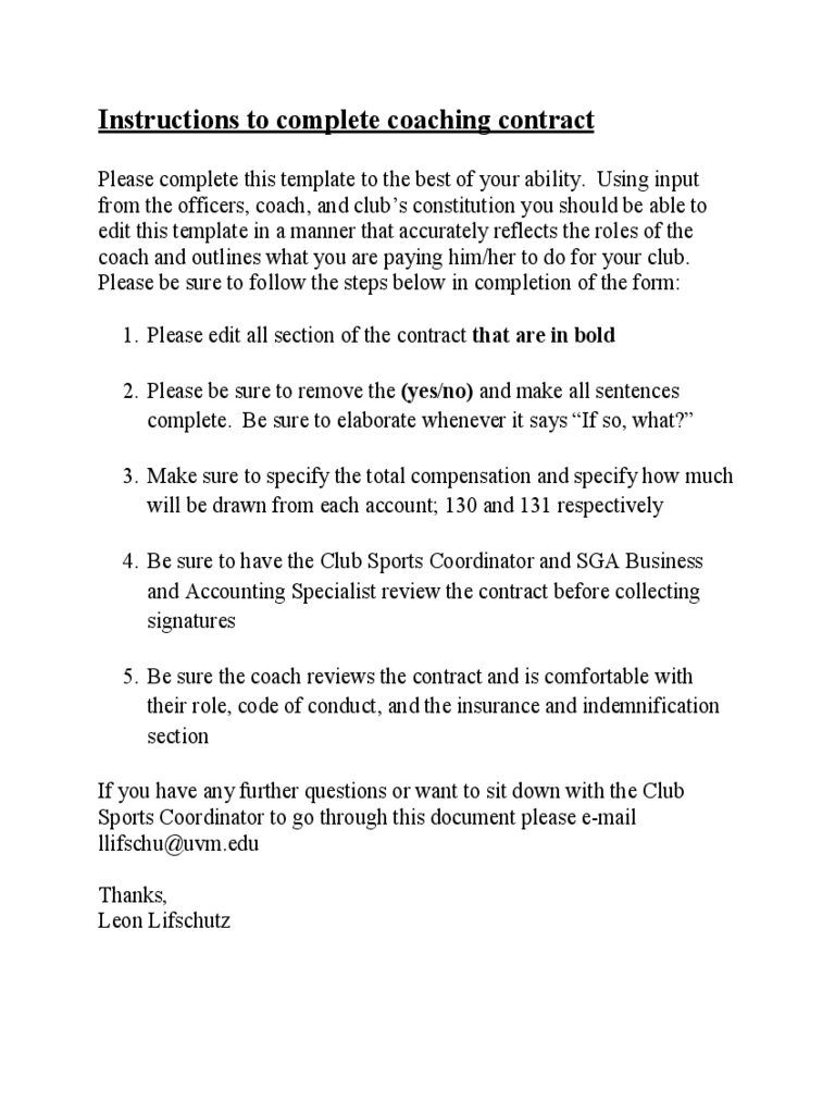Coaching Contract Template   University Of Vermont