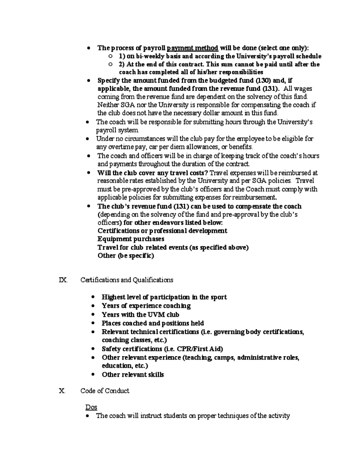 Coaching Contract Template University of Vermont Free Download – Coaching Contract Template