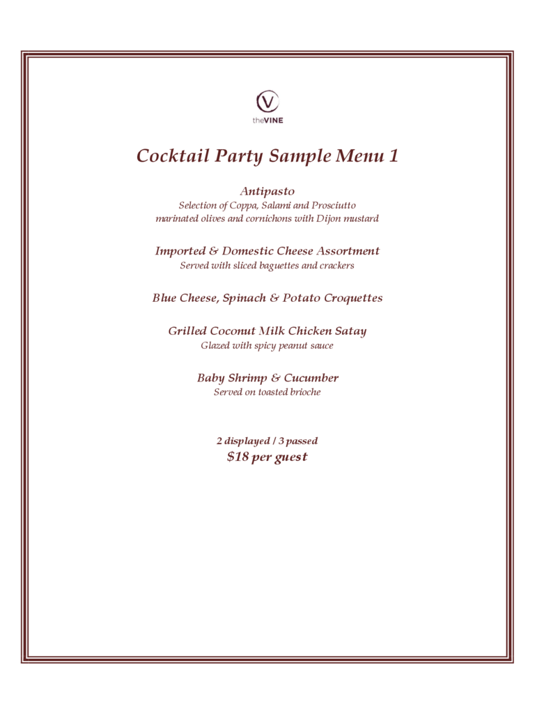 Cocktail Party Sample Menu