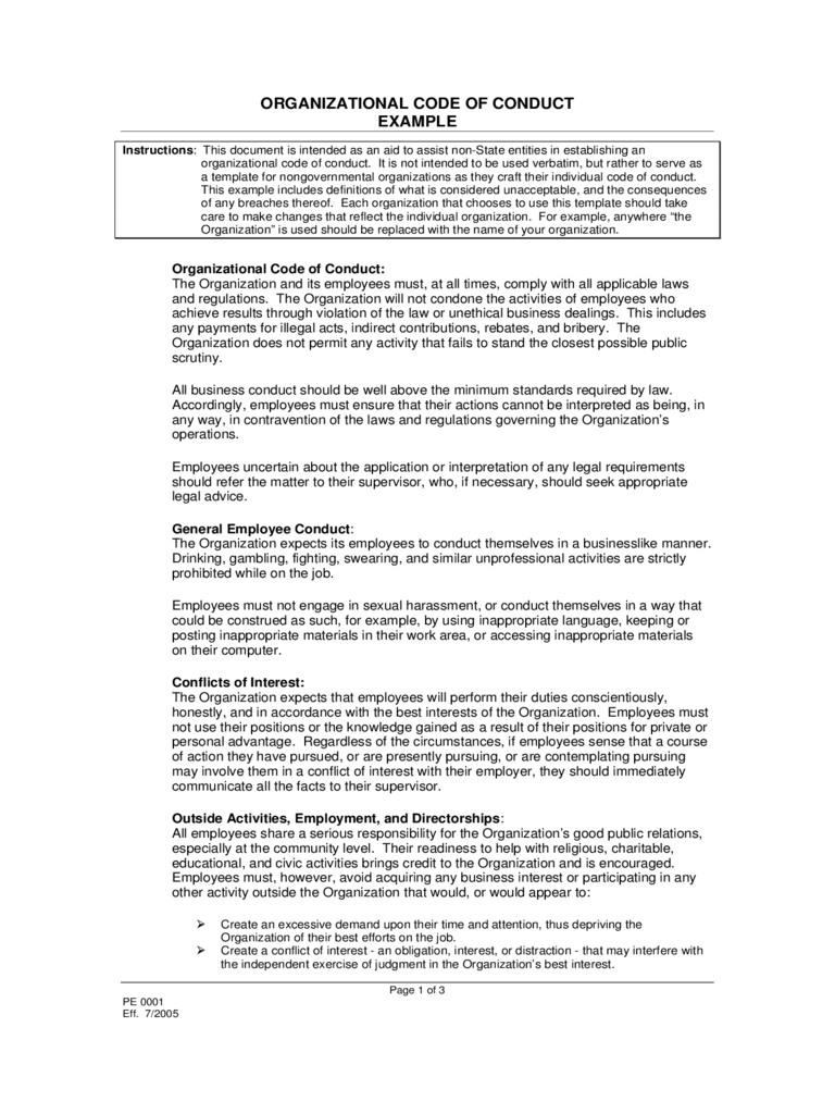 code of conduct example 5 free templates in pdf word