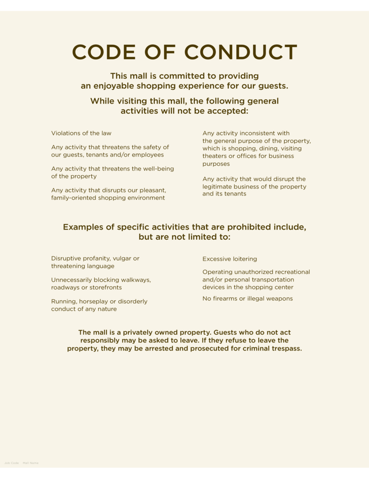 1 Code Of Conduct Sample