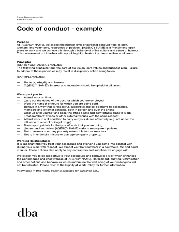 Sample code of conduct example free download for Company code of ethics template