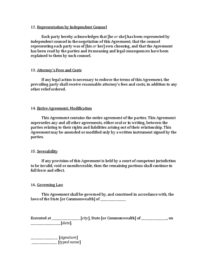 Model Cohabitation Agreement For Domestic Partners South
