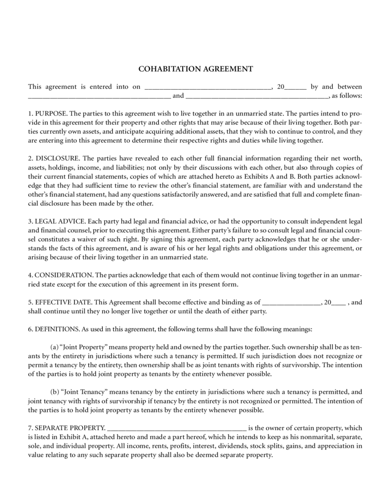 Cohabitation Agreement Template - 4 Free Templates in PDF ...