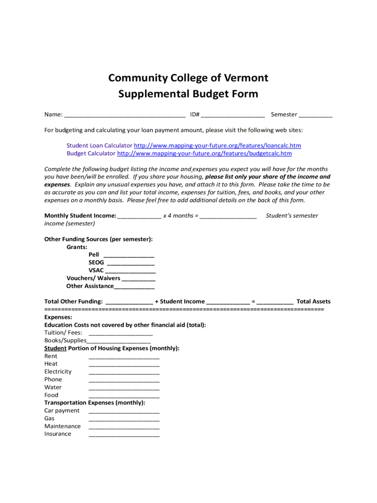 Community College of Vermont Supplemental Budget Form Free Download
