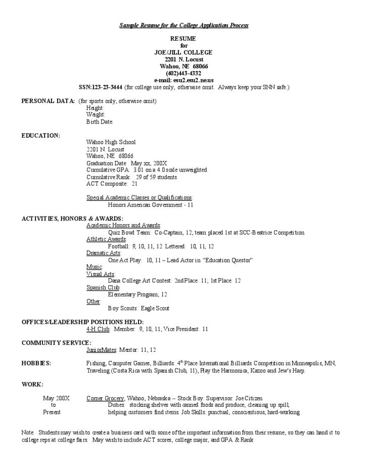 sample resume for college application free download resume