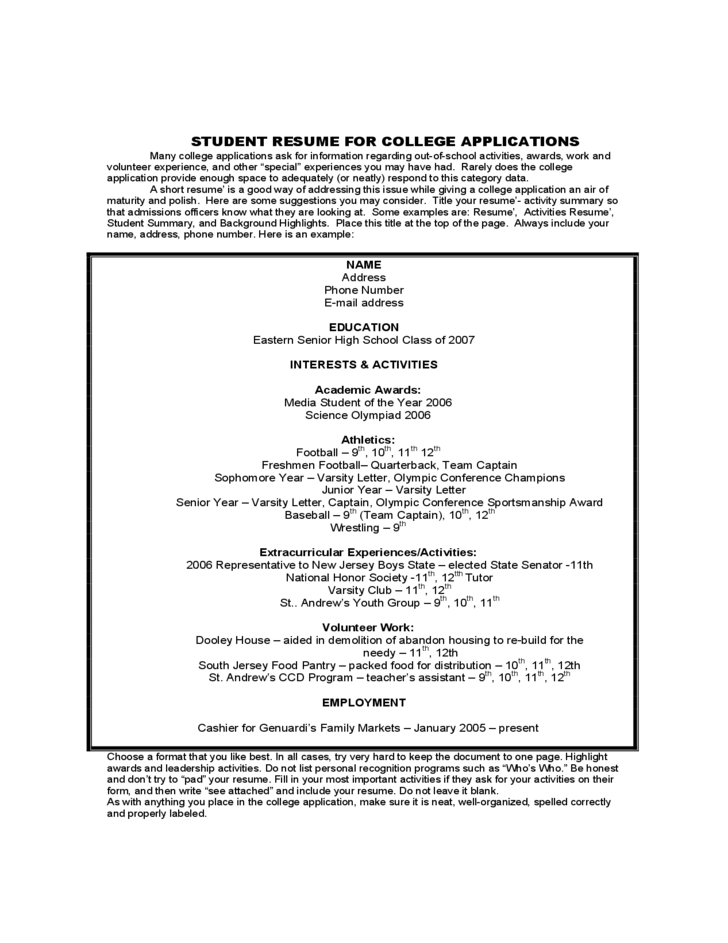 student sample resume for college application free download