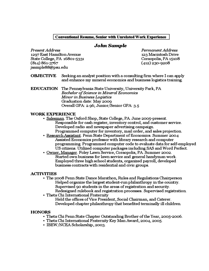 sample resume by a first year student free download
