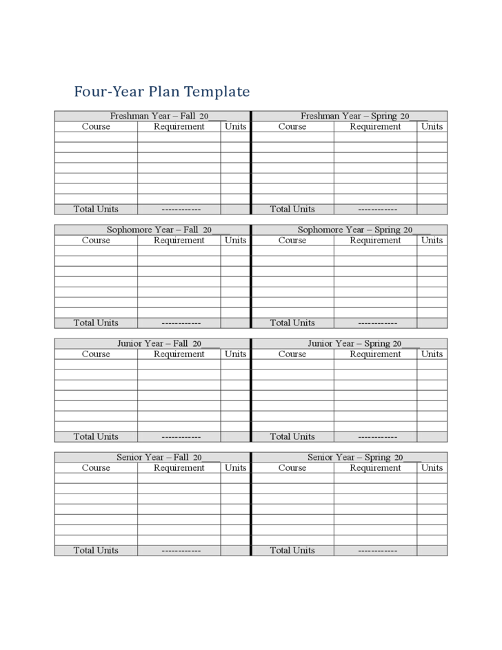 Four Year Plan Template Free Download