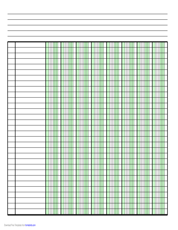 Columnar Blank Paper with One Column on A4-Sized Paper in Portrait Orientation