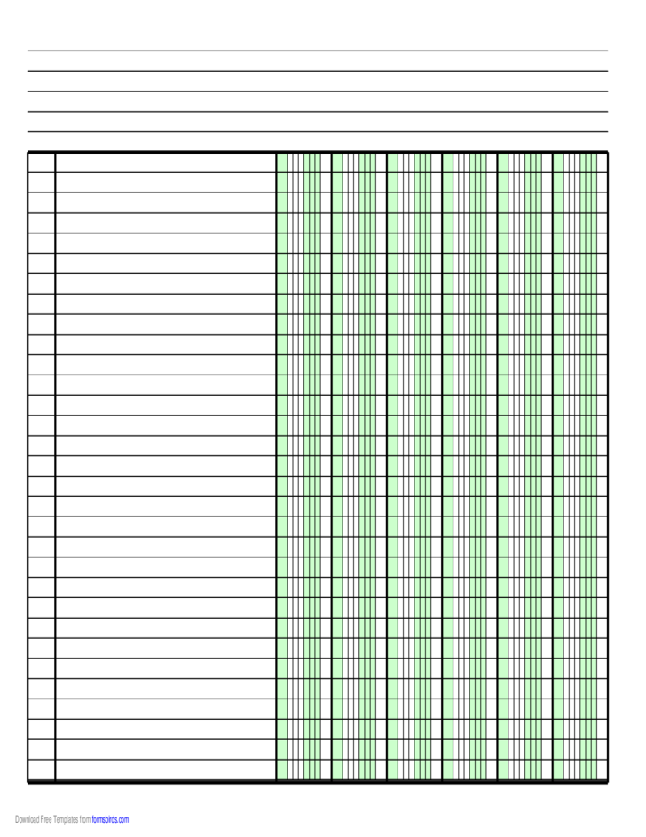 Columnar Paper with Six Columns on A4-Sized Paper in Landscape Orientation