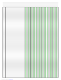 Columnar Paper with Six Columns on Ledger-Sized Paper in Portrait Orientation