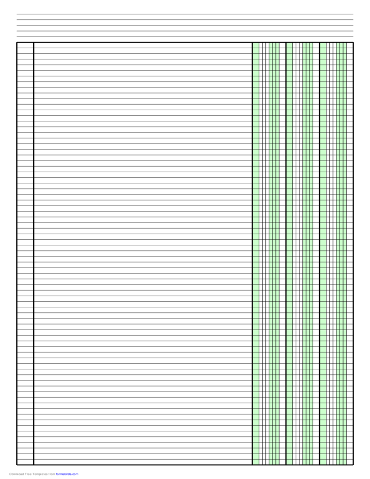 columnar paper with three columns on ledger
