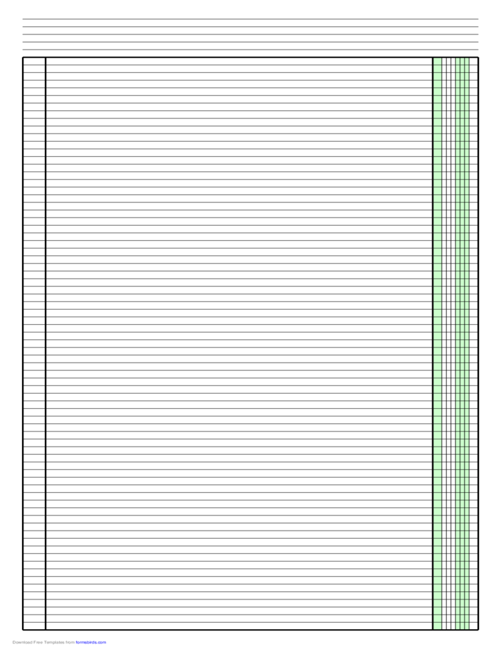 Columnar Paper with One Column on Ledger-Sized Paper in Portrait Orientation