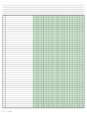 Columnar Paper with Ten Columns on Ledger-Sized Paper in Landscape Orientation