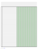 Columnar Paper with Nine Columns on Ledger-Sized Paper in Landscape Orientation