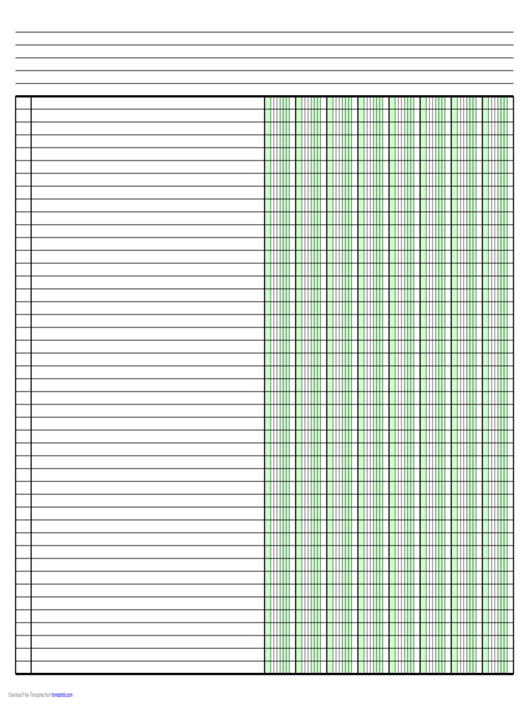 Columnar Paper with Eight Columns on Ledger-Sized Paper in Landscape Orientation