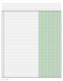Columnar Paper with Six Columns on Ledger-Sized Paper in Landscape Orientation