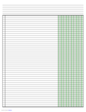 Columnar Paper with Five Columns on Ledger-Sized Paper in Landscape Orientation