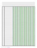 Columnar Paper with Five Columns on Letter-Sized Paper in Portrait Orientation