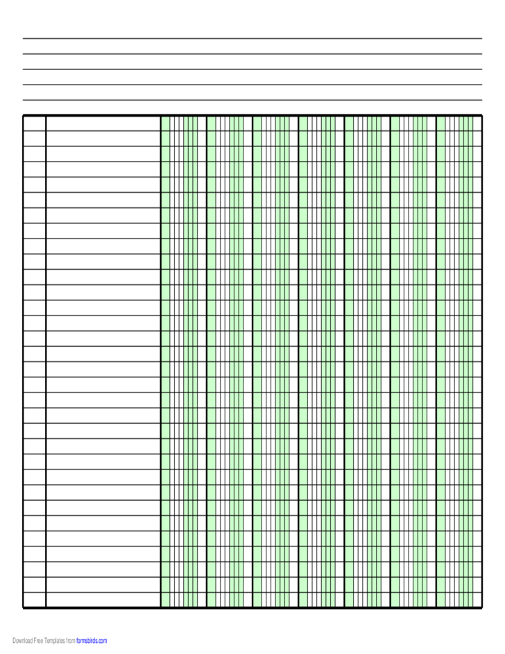 Blank Columnar Paper with Five Columns on Letter-Sized Paper in Landscape Orientation