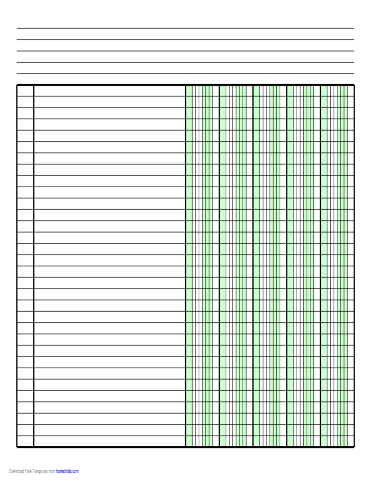 Columnar Paper With Five Columns On Letter Sized Paper In