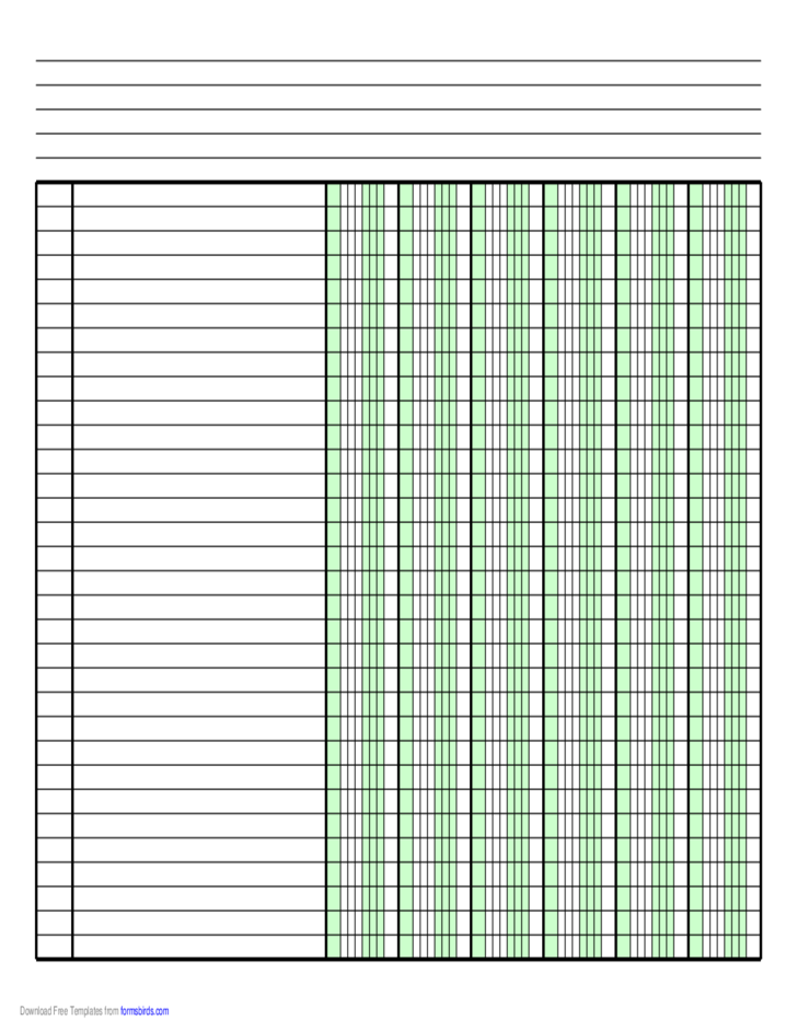 Columnar Paper With Six Columns On Letter Sized Paper In