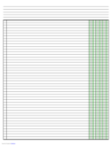 Columnar Paper with Three Columns on Ledger-Sized Paper in Landscape Orientation