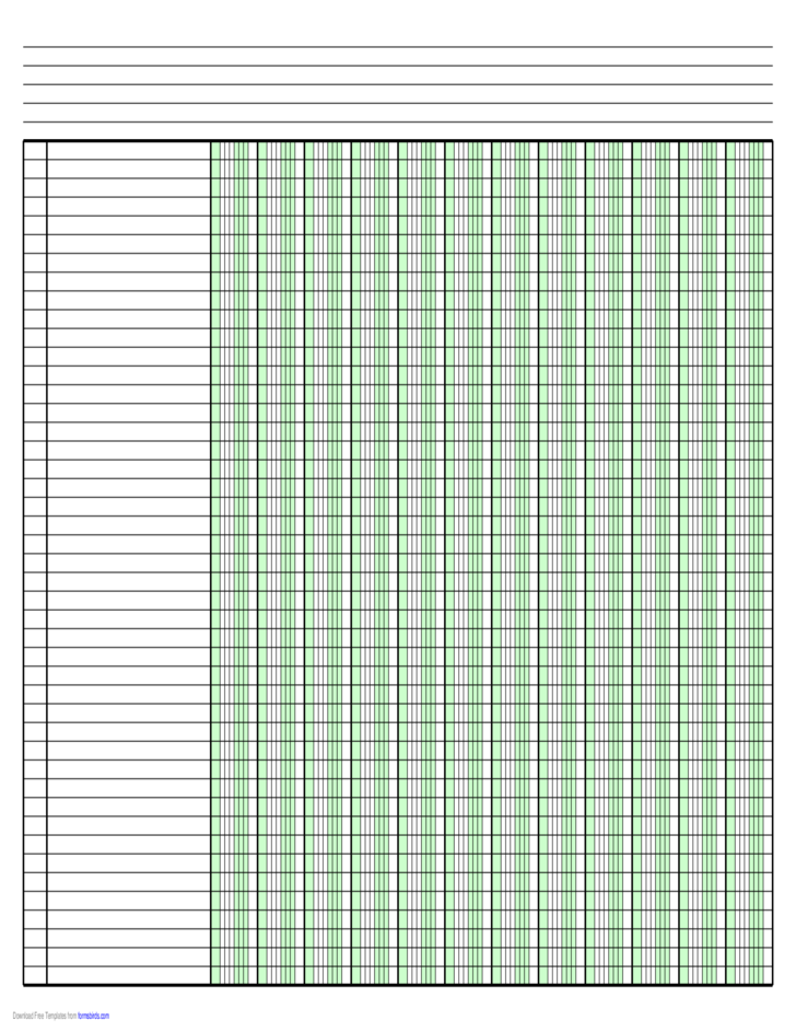 columnar paper with twelve columns on ledger
