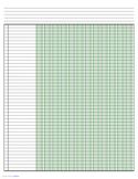 Columnar Paper with Twelve Columns on Ledger-Sized Paper in Landscape Orientation