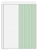 Columnar Paper with Five Columns on Ledger-Sized Paper in Portrait Orientation