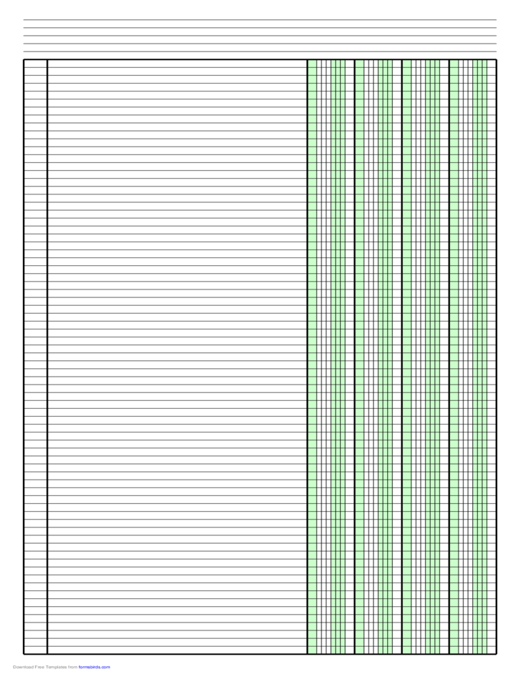 Columnar Paper with Four Columns on Ledger-Sized Paper in Portrait Orientation