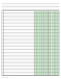 Columnar Paper with Seven Columns on Ledger-Sized Paper in Landscape Orientation