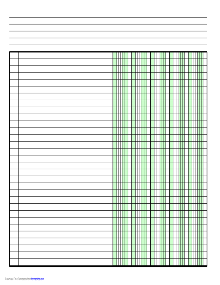 Columnar Paper with Five Columns on A4-Sized Paper in Landscape Orientation