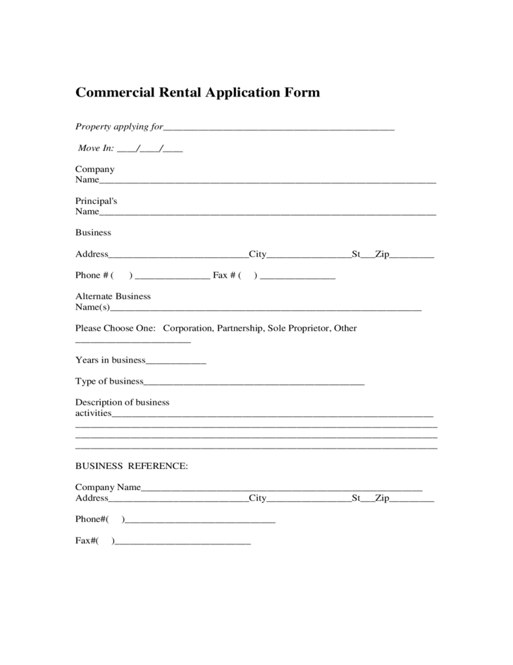 commercial rental and lease form